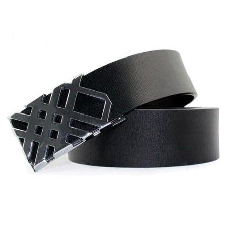CA Men's 100% Leather Belt Smooth Buckle Color Black Size Medium