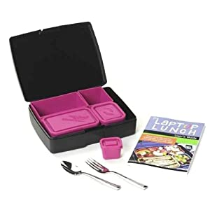 Laptop Lunch Bento Set 2.0, Black And Magenta