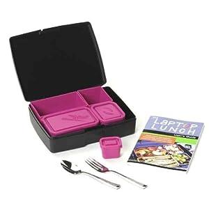 Laptop Lunch Bento Set 2.0, Black And Magenta