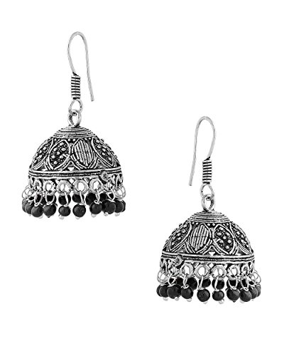 Voylla Exotic Pair Of Jhumki Earrings With Black Beads
