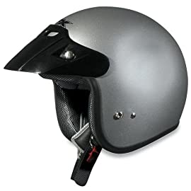 AFX FX-75 Open-Face Motorcycle Helmet - Silver XL - 0104-0081