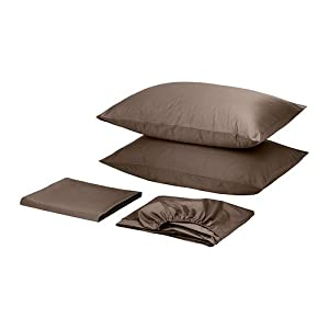Ikea Gaspa 300 Thread Count Cotton Sateen King size 4pc Bed Sheet set Beige Brown