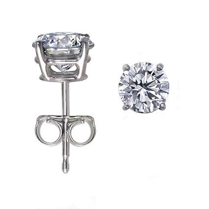 14K Gold, Round, Diamond Stud Earrings (1 ctw, G-H Color, SI1-I2 Clarity)