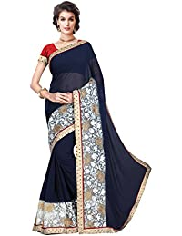 Shonaya Blue Colour Georgette Embroidery Saree With Unstitched Blouse Piece
