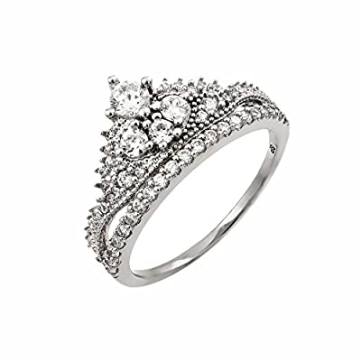 Rhodium Plated Sterling Silver Round CZ Micro Pave Setting Tiara Crown Engagement Ring