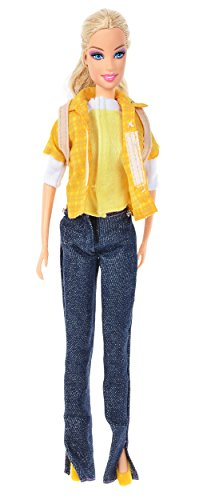 Banana Kong Doll's Chic Casual Shirts,Jeans,Backpack Set - 1