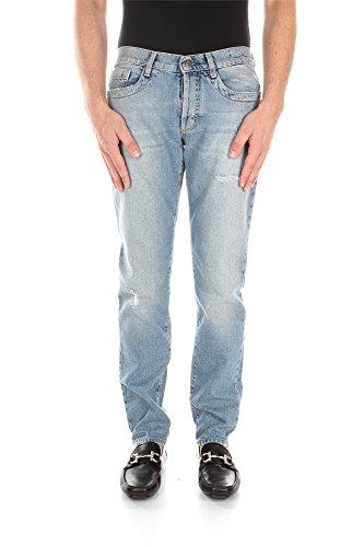 Jeans Bikkembergs Uomo Cotone Blu Denim Chiaro DB161DX01555 Blu 38 Slim Fit