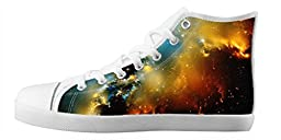 Renben Amazing Nonslip Galaxy Space Kids Boy\'s Canvas Shoes Lace-up High-top Sneakers Fashion Running Shoes