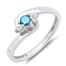 buy 0.25 Carat (Ctw) Sterling Silver Round Blue & White Diamond Ladies 3 Stone Engagement Bridal Promise Ring 1/4 Ct (Size 7)