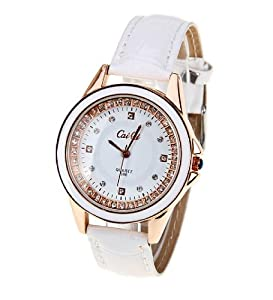 CaiQi Women Water Resistant Watch White Leather Band Wrist Watch 598