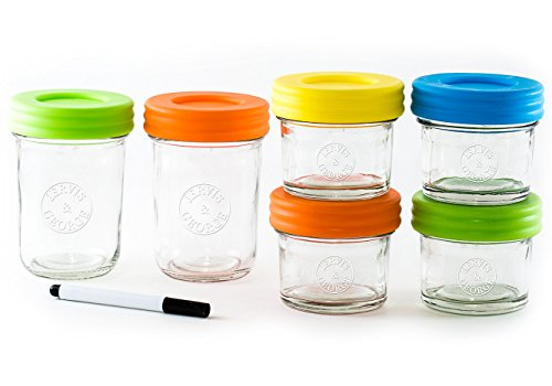 Glass Baby Food Storage Containers - Set contains Small Reusable 4oz and 8oz Jars with Airtight Lids - Safely Freeze your Homemade Baby Food (Plastic Baby Food Jars compare prices)