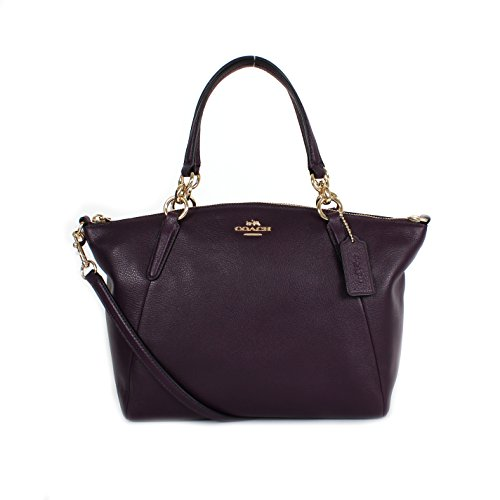 Coach F36675 Pebble Leather Small Kelsey Satchel Aubergine