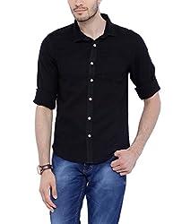 Bandit Black Slim fit Linen Solid Shirts