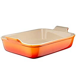 Le Creuset Heritage Stoneware 7-by-5-Inch Rectangular Dish, Flame
