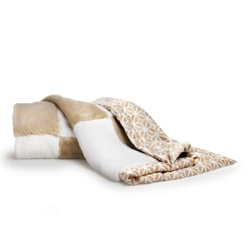 CoCaLo Mix & Match Patchwork Fur Blanket, Taupe