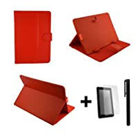 Red PU Leather Case Cover Stand for ICOO D50 7'' 7 Inch Android Tablet Pc + Screen Protector + Stylus Pen by bestdeal UK