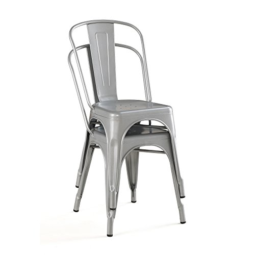 Belleze Set of (4) Vintage Style Dining Chairs Steel High Back Side (Silver) 1
