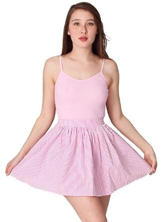 American Apparel Seersucker Full Woven Skirt - White Hot Pink Seersucker / M/L