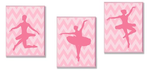 The Kids Room by Stupell Pink Ballerina Sillouhettes on Pink Chevron 3-Pc. Rectangle Wall Plaque Set - 1