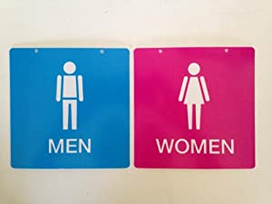 Cute Pink And Blue Men And Women Restroom