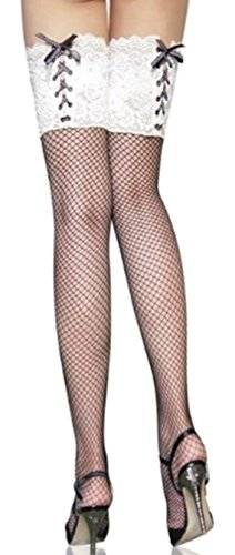 Fashion and Sassy White lace top fishnet stockings Makes you stand out in the crowd