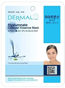 Dermal Korea Collagen Essence Full Face Facial Mask Sheet - Hyaluronate (10 Pack)