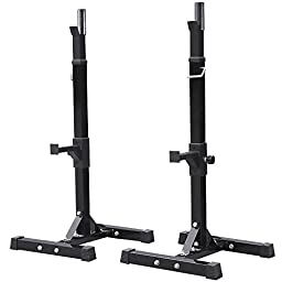 Topeakmart Adjustable Standard Solid Steel Squat Stands Barbell Stand Rack Free Bench Press