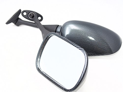 バイク用 ショートタイプ バックミラー 左右セット CBR 汎用 (カーボン)