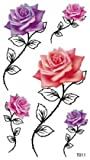long lasting temporary tattoo rose temporary tattoos for women and girls, one paper tattoo including 3 pink roses and 2 purple roses