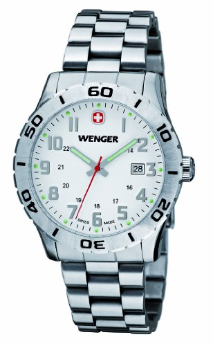 Wenger Grenadier 01.0741.102 - Reloj analógico de cuarzo para hombre, correa de acero inoxidable color plateado (agujas luminiscentes)