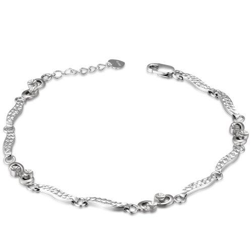 14K Italian White Gold Diamond-Cut Infinity Segment Bracelet (6.5