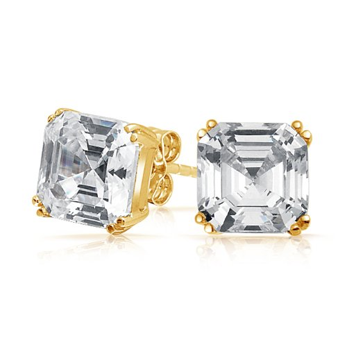 Bling Jewelry CZ Gold Vermeil Asscher Cut Stud Earrings 925 Sterling Silver 6mm