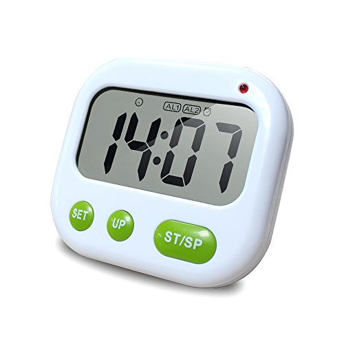 Kitchen Timer,XREXS Vibrating Alarm Clock with Large Backlit LCD Display, Count Down Up Pocket Stopwatch / Timer for Sleeping / Calculation / Cooking / Nursing / Lab / Meeting (Battery Included)