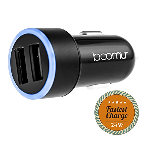 Boomur 4.8 Amp Dual USB Car Charger, Two Intelligent High Output Smart Charging Ports for iPhone, Samsung & GPS Devices (Lighted Car Charger compare prices)