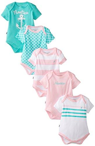 Nautica Baby-Girls Newborn 5 Pack Assorted Baby Girl Bodysuits, Assorted, 6 Months front-1074676