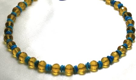 Turquoise Necklaces 2 Strands Swarovsky Austrian Crystal with Turquoise Beads Beaded Necklace 17