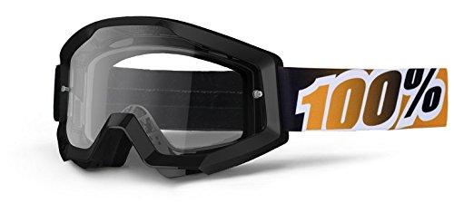100-Strata-NoirMandarina-Lunettes-masque-Motocross-Quad-ATV-MX-SX-Cross-Offroad-VTT