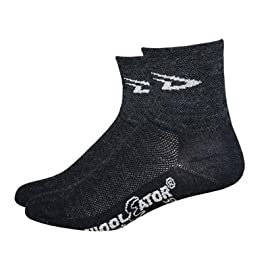 DeFeet Wooleator 3in Charcoal D Logo Cycling/Running Socks - WAC