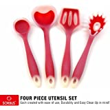 Sorbus 4 Piece Silicone-Frosting Kitchen Utensil Set- Ladle, Spatula Turner, Mixing Spoon, And Spatula Spoon