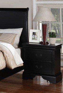 """Beautifully Designed Nightstand with 2 Drawers in Black, 22"""" x 15"""" x 24"""" H"""