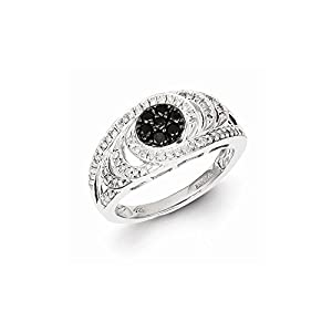 Sterling Silver w/Rhodium Plated Black & White Diamond Ring, Size 7, (0.5 ctw, I1-I2 Clarity)