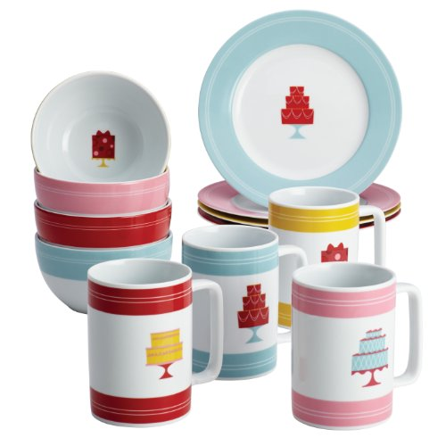 "Cake Boss Novelty Serveware 12-Piece Complete Dessert Set, ""Mini Cakes"""