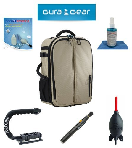 Gura Gear Bataflae 32L Backpack (Tan) For Canon Eos Sl1 T5I, T4I, T3I, T3, T2I + Foregrip + Nikon Lens Pen Cleaning System + Giotto'S Air Blower + Cleaning Kit + Olympus Waterproof Binoculars