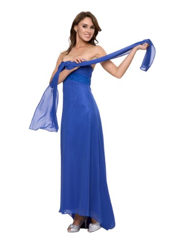Astrapahl, Elegantes festliches Abendkleid in Empire Stil, lang, Perlenstickerei, Farbe blau