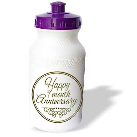 Wb_193718_1 Inspirationzstore Occasions - Happy 9 Month Anniversary. Gold Text. 9Th Month Together Anniversaries - Water Bottles