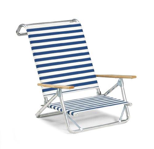 Telescope Casual Original Mini-Sun Chaise Folding Beach Arm Chair, Blue/White Stripe