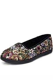 M&S Collection Floral Tapestry Slippers [T82-3085-S]