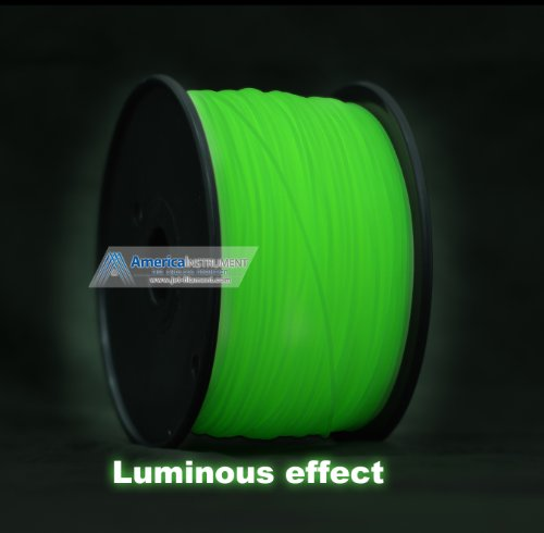3mm ABS Green Glow in Dark Filament 1.0kg (=2.205 lbs) on Spool for 3D Printer MakerBot RepRap and UP! -Jet