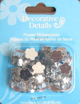 CRAFT Decorative Details FLOWER RHINESTONES: Pack of 45 Clear DAISY Shape GEM STONES Each 3/8