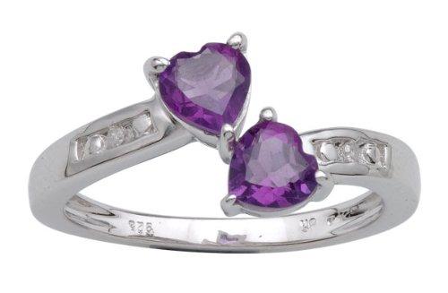 Sterling Siver 0.82cttw Diamond & Amethyst Fashion Ring